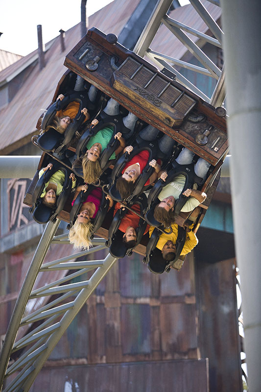Rollercoaster riders upsidedown on the Mystery Mine at Dollywood