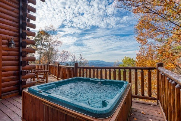 Hot tub on a deck overlooking the Smoky Mountains