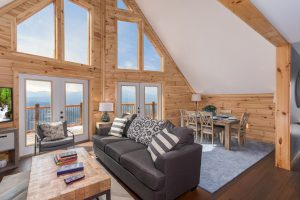 Living room with an amazing view at Pigeon Forge Panorama, a rental cabin in Pigeon Forge, TN