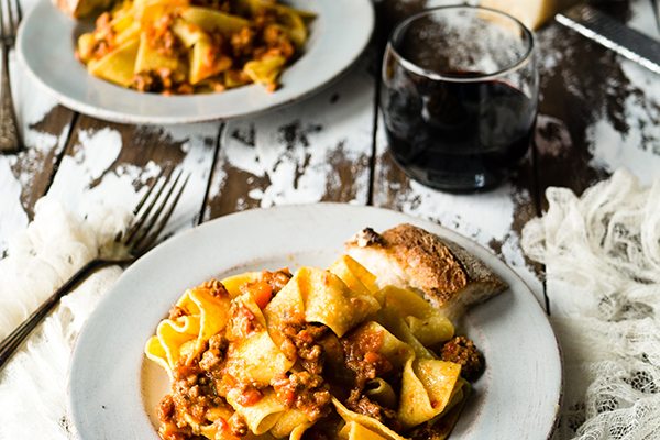 pasta and red wine