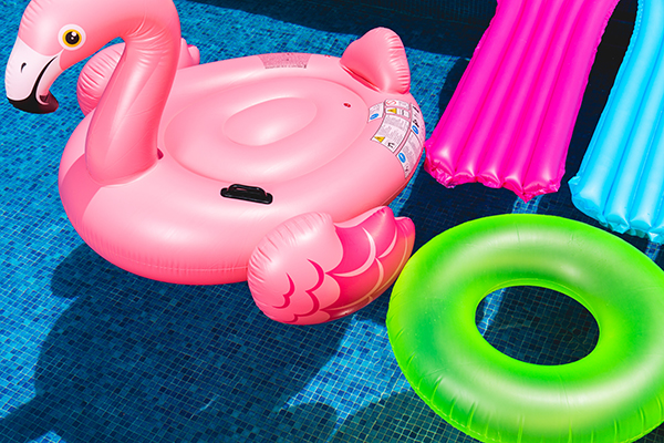 pool floats in a swimming pool