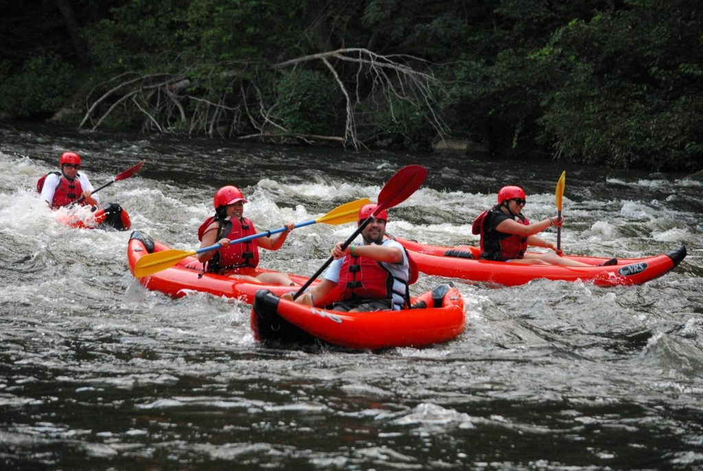 Kayaking in a duckie on the Pigeon River
