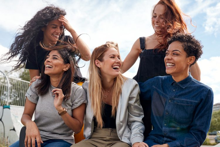 a group of women laughing