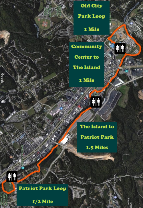 a map of the city of Pigeon Forge Greenway