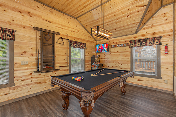 pool table at a cabin with a private pool - Alpine Adventure