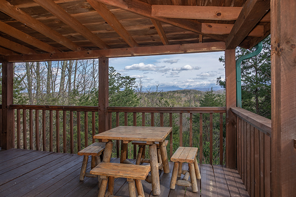 a porch with mountain views at blue mountain views in pigeon forge tn