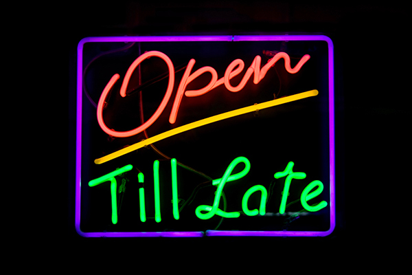 open til late neon sign