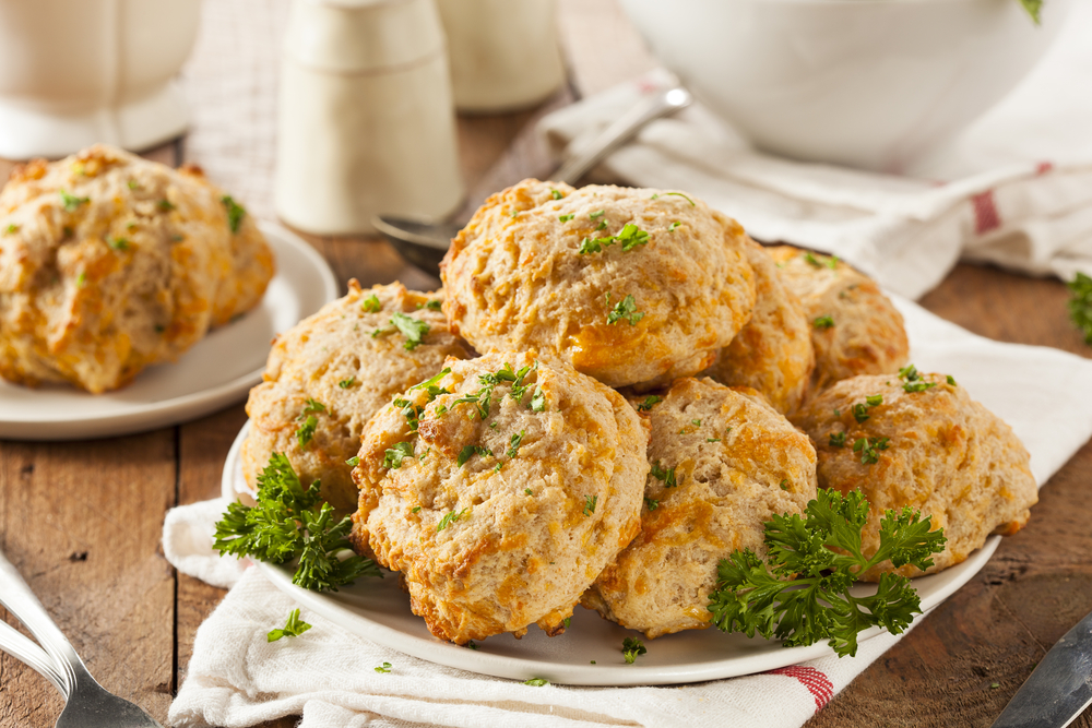 cheese biscuits on a white plate
